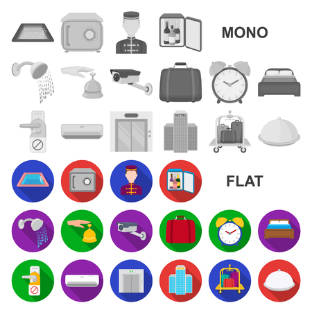 Hotel and equipment flat icons in set collection for design. Hotel and comfort vector symbol stock  illustration.
