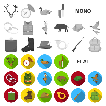 Hunting and trophy flat icons in set collection for design. Hunting and equipment vector symbol stock  illustration.