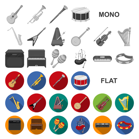 Musical instrument flat icons in set collection for design. String and Wind instrument vector symbol stock  illustration. Stock Illustratie