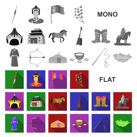 Country Mongolia flat icons in set collection for design.Territory and landmark vector symbol stock  illustration.  イラスト・ベクター素材