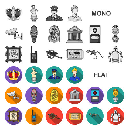 Museum and gallery flat icons in set collection for design. Storage and exhibition of showpiece vector symbol stock illustration. Vector Illustration