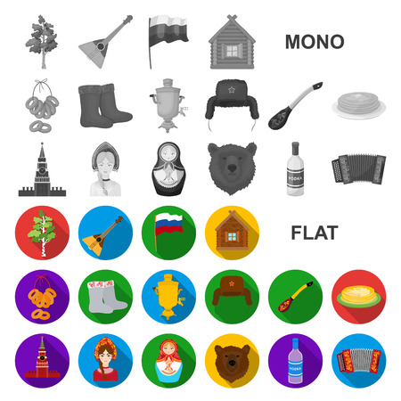 Country Russia, travel flat icons in set collection for design. Attractions and features vector symbol stock  illustration. Stok Fotoğraf - 110594412