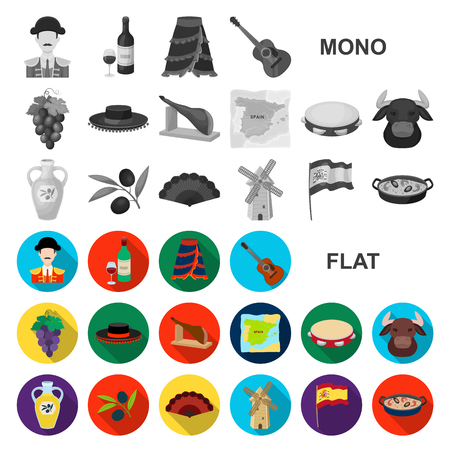 Spain country flat icons in set collection for design.Travel and attractions vector symbol stock illustration. Vector Illustratie