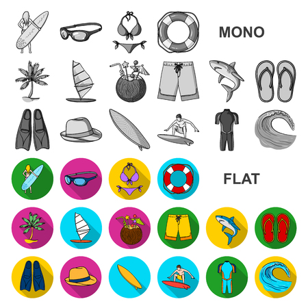 Surfing and extreme flat icons in set collection for design. Surfer and accessories vector symbol stock  illustration. Stock Illustratie