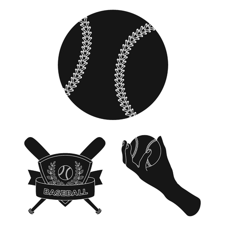 Baseball and attributes black icons in set collection for design.Baseball player and equipment bitmap symbol stock web illustration.