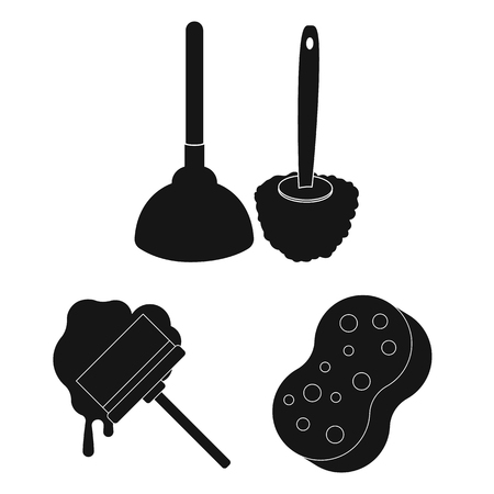 Cleaning and maid black icons in set collection for design. Equipment for cleaning bitmap symbol stock web illustration.