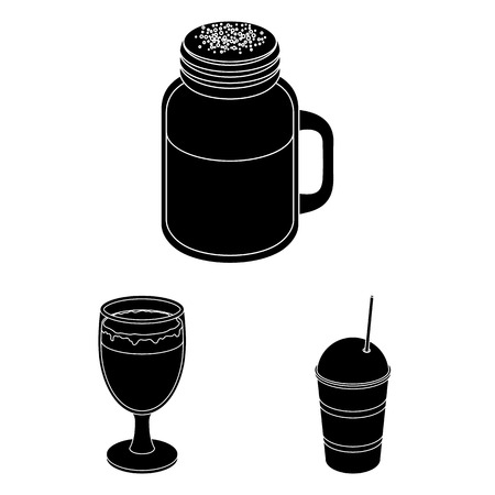 Different kinds of coffee black icons in set collection for design. Coffee drink bitmap symbol stock web illustration. Фото со стока