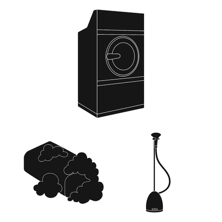 Dry cleaning equipment black icons in set collection for design. Washing and ironing clothes bitmap symbol stock web illustration.