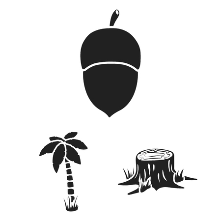 Forest and nature black icons in set collection for design. Forest life bitmap symbol stock web illustration.