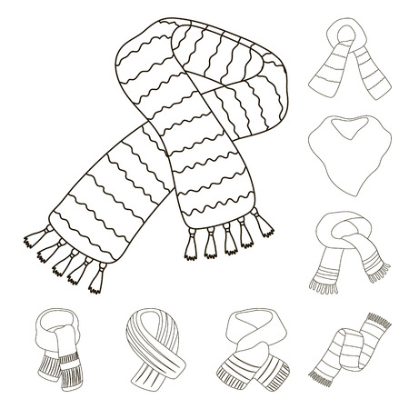 Scarf and Shawl outline icons in set collection for design.Clothes and Accessory bitmap symbol stock web illustration.