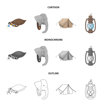 A bag of diamonds, an elephant head, a kerosene lamp, a tent. African safari set collection icons in cartoon,outline,monochrome style bitmap symbol stock illustration web.