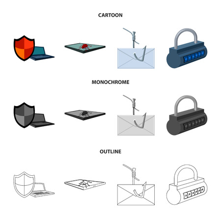Hacker, system, connection .Hackers and hacking set collection icons in cartoon,outline,monochrome style bitmap symbol stock illustration web. Banque d'images