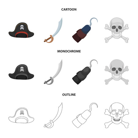 Pirate, bandit, cap, hook .Pirates set collection icons in cartoon,outline,monochrome style bitmap symbol stock illustration web.