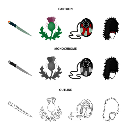 National Dirk Dagger, Thistle National Symbol, Sporran,glengarry.Scotland set collection icons in cartoon,outline,monochrome style bitmap symbol stock illustration web. Stok Fotoğraf