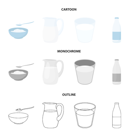 Bowl of cottage cheese, a glass, a bottle of kefir, a jug. Moloko set collection icons in cartoon,outline,monochrome style bitmap symbol stock illustration web.