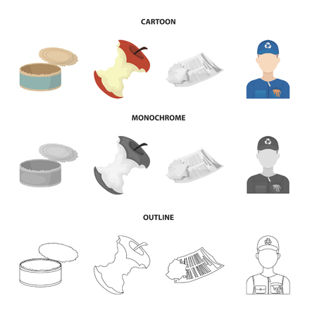 Can used used pot, apple stub, old dirty and wrinkled newspaper, the man who takes out the garbage.Garbage and trash set collection icons in cartoon,outline,monochrome style bitmap symbol stock illustration web.