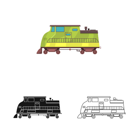 Isolated object of train and station logo. Set of train and ticket stock vector illustration.
