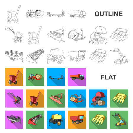 Agricultural machinery flat icons in set collection for design. Equipment and device vector symbol stock web illustration. Illustration