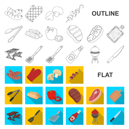 Barbecue and equipment flat icons in set collection for design. Picnic and fried food vector symbol stock  illustration.