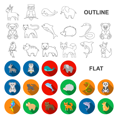 An unrealistic animal flat icons in set collection for design. Toy animals vector symbol stock web illustration.