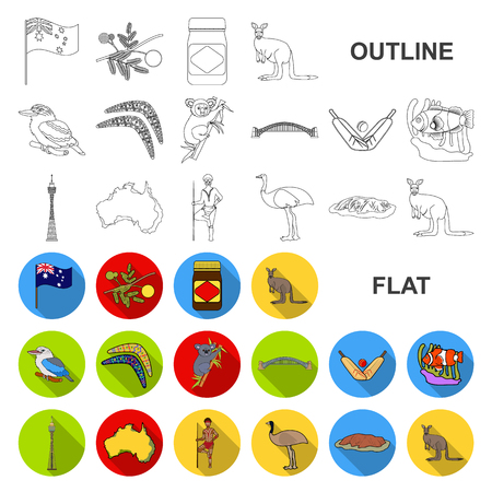 Country Australia flat icons in set collection for design.Travel and attractions vector symbol stock  illustration.