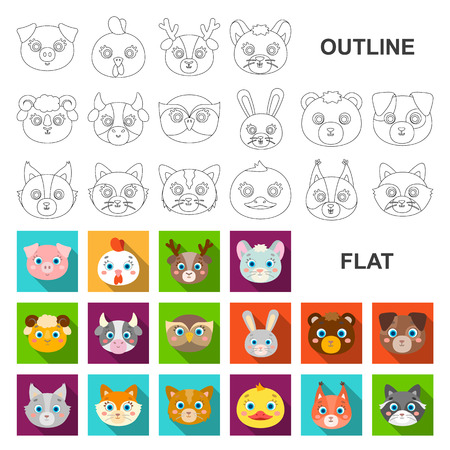 Muzzles of animals flat icons in set collection for design. Wild and domestic animals vector symbol stock web illustration. Illustration