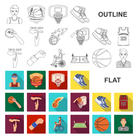 Basketball and attributes flat icons in set collection for design.Basketball player and equipment vector symbol stock illustration. Ilustração Vetorial