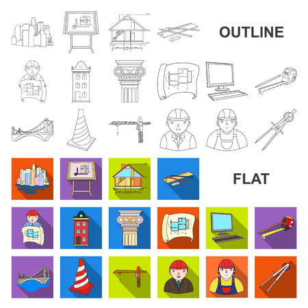 Architecture and construction flat icons in set collection for design. Architect and equipment vector symbol stock web illustration.