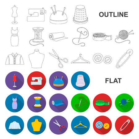 Atelier and sewing flat icons in set collection for design. Equipment and tools for sewing vector symbol stock web illustration. Иллюстрация
