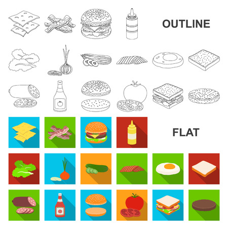 Burger and ingredients flat icons in set collection for design. Burger cooking vector symbol stock web illustration.