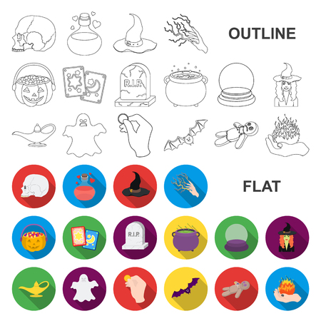 flat and white magic flat icons in set collection for design. Attributes and sorceress accessories vector symbol stock web illustration.