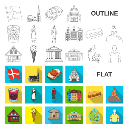 Country Denmark flat icons in set collection for design. Travel and attractions Denmark vector symbol stock web illustration. Illustration