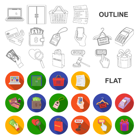 E-commerce, Purchase and sale flat icons in set collection for design. Trade and finance vector symbol stock web illustration.