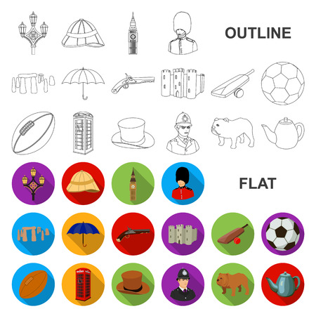 England country flat icons in set collection for design.Travel and attractions vector symbol stock web illustration. Illustration