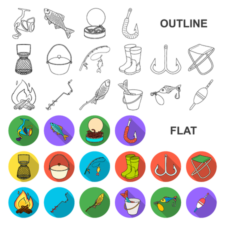 Fishing and rest flat icons in set collection for design. Tackle for fishing vector symbol stock web illustration.