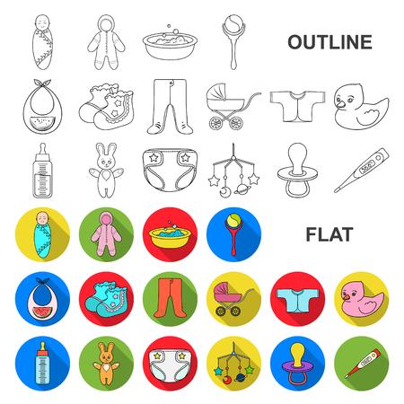 Nacimiento de un bebé iconos planos en conjunto para el diseño. Recién nacido y accesorios vector símbolo stock web ilustración.
