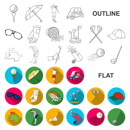 Golf and attributes flat icons in set collection for design.Golf Club and equipment vector symbol stock web illustration.