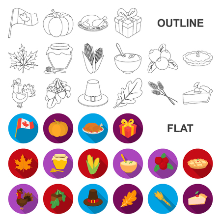 Canada Thanksgiving Day flat icons in set collection for design. Canada and Tradition vector symbol stock web illustration.
