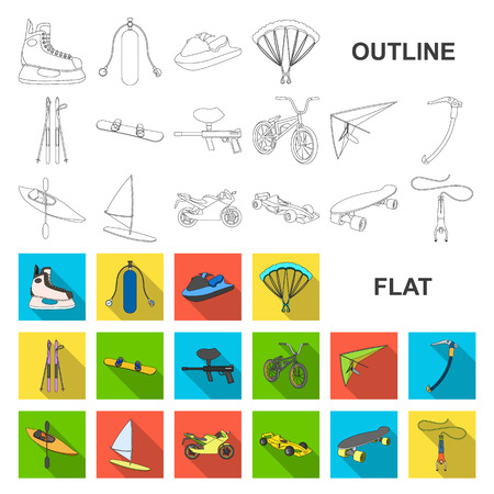 Extreme sport flat icons in set collection for design.Different kinds of sports vector symbol stock web illustration. Illustration