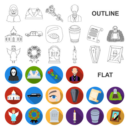 Funeral ceremony flat icons in set collection for design. Funerals and Attributes vector symbol stock web illustration.