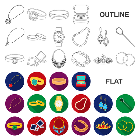 Jewelry and accessories flat icons in set collection for design.Decoration vector symbol stock web illustration. Illustration