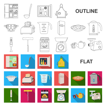 Kitchen equipment flat icons in set collection for design. Kitchen and accessories vector symbol stock web illustration.