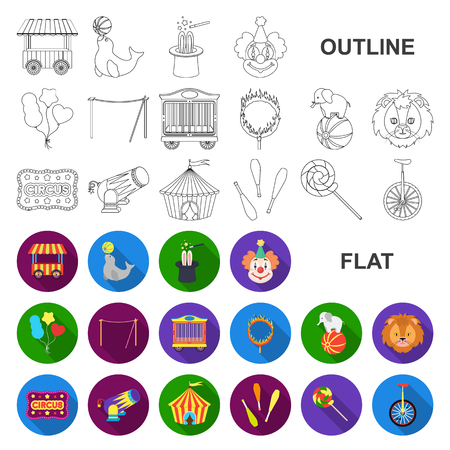 Circus and attributes flat icons in set collection for design. Circus Art vector symbol stock web illustration. Vectores