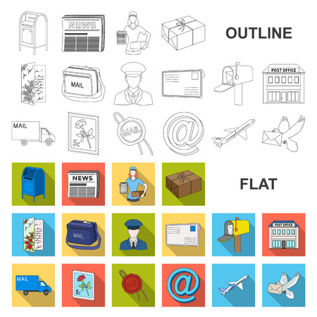 Mail and postman flat icons in set collection for design. Mail and equipment vector symbol stock web illustration. Illustration