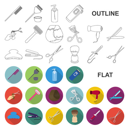 Hairdresser and tools flat icons in set collection for design.Profession hairdresser vector symbol stock web illustration.
