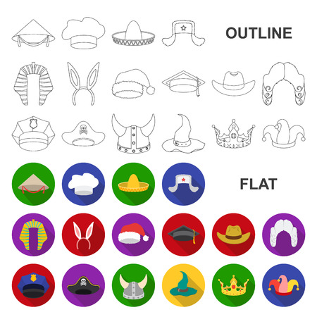 Different kinds of hats flat icons in set collection for design.Headdress vector symbol stock web illustration.