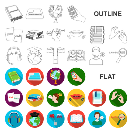 Translator and linguist flat icons in set collection for design. Interpreter vector symbol stock web illustration.