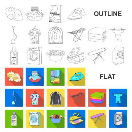 Icônes plates d'équipement de nettoyage à sec dans la collection de jeu pour la conception. Laver et repasser les vêtements vector illustration stock web symbole.
