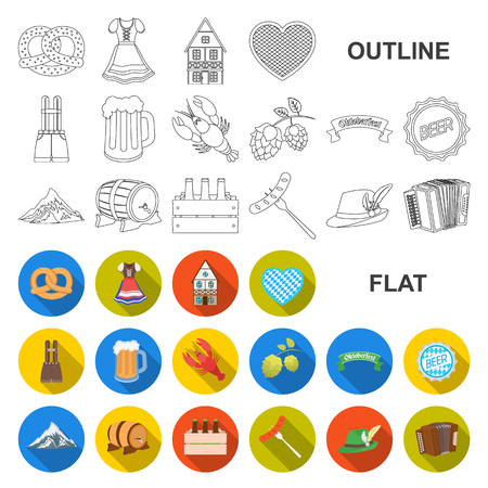 Oktober festival in Munich flat icons in set collection for design.Tradition and fun vector symbol stock web illustration.