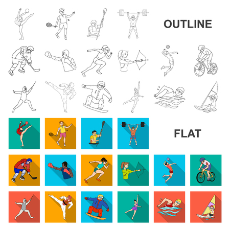 Different kinds of sports flat icons in set collection for design. Athlete, competitions vector symbol stock web illustration. Illustration